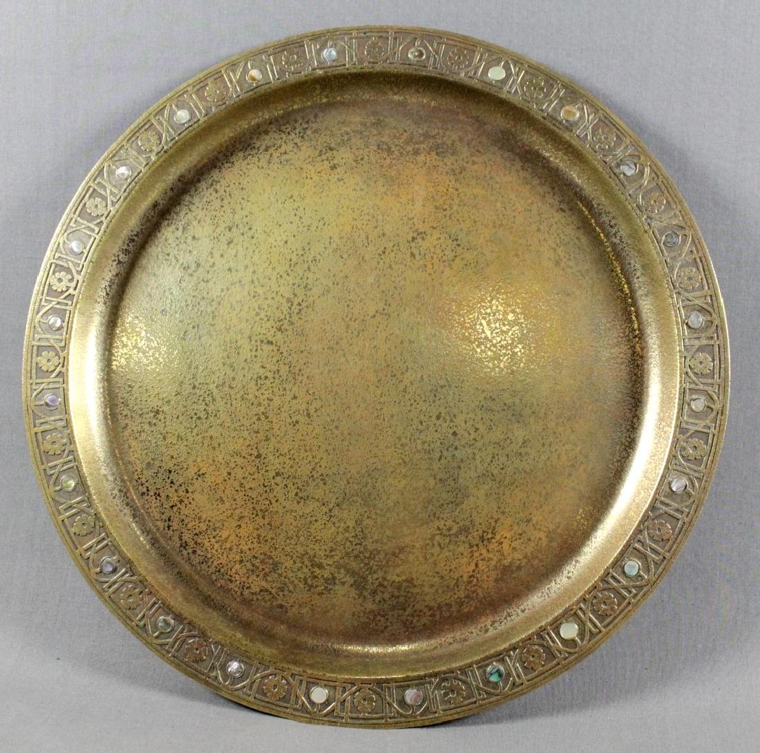 TIFFANY STUDIOS NY BRONZE TRAY WITH MOTHER OF PEARL