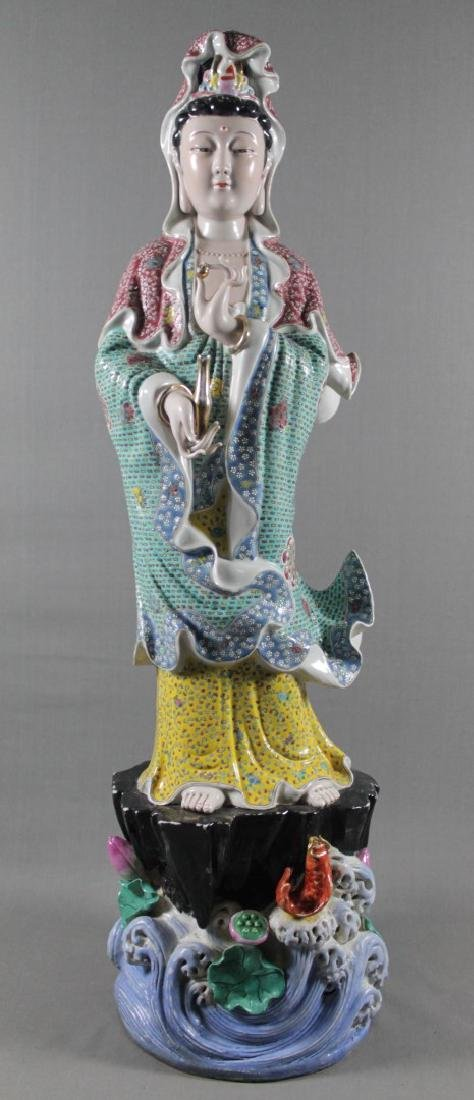 "LARGE 30 1/2"" CHINESE ENAMELED PORCELAIN FIGURE"