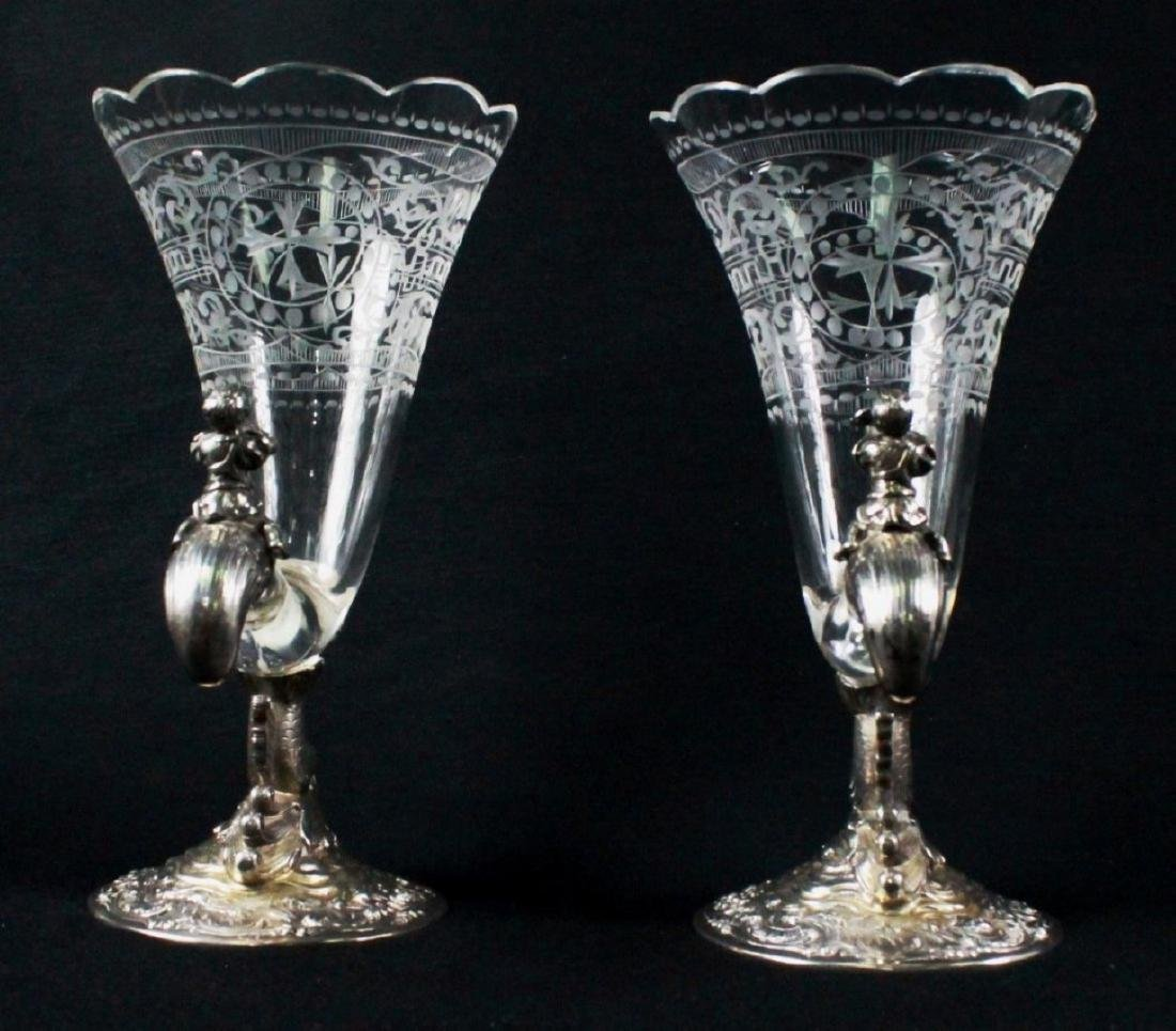 PAIR OF GERMAN 800 FINE AND CRYSTAL CORNUCOPIA VASES