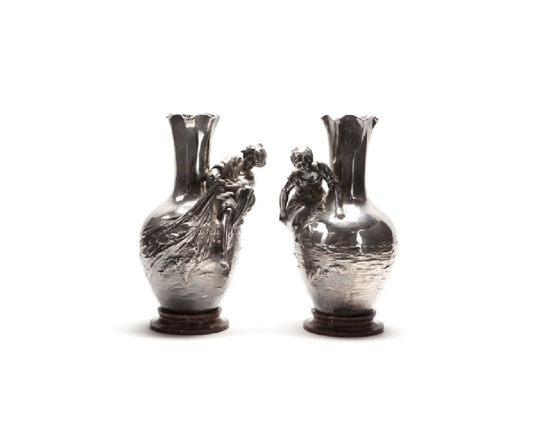PAIR OF AUGUSTE MOREAU (1834-1917) FRENCH SILVER PLATED