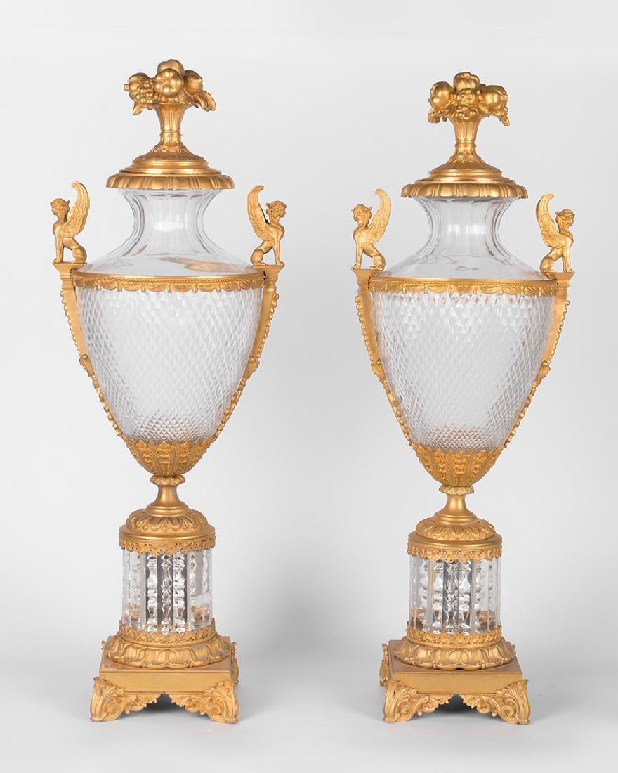 PAIR OF 19TH C. LOUIS XVI STYLE GILT BRONZE & CUT GLASS