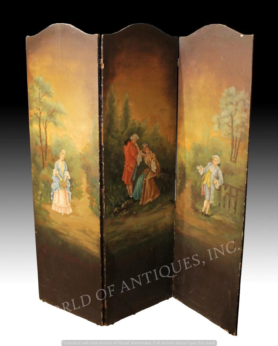 EARLY 19TH C. VICTORIAN 3 PANEL HANDPAINTED SCREEN