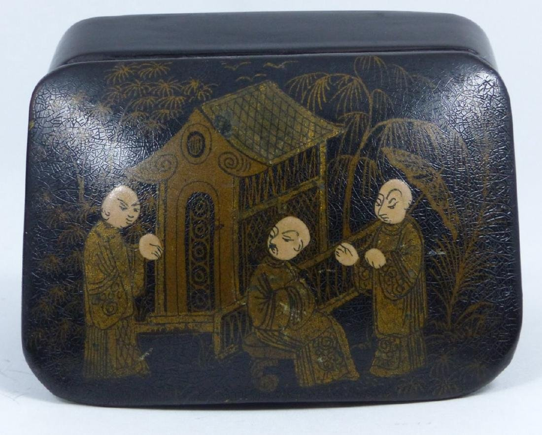 Chinese black lacquer box with gold painted scene