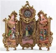 AUSTRIAN VIENNVIENNESE ENAMEL BRONZE PANEL SCREEN CLOCK
