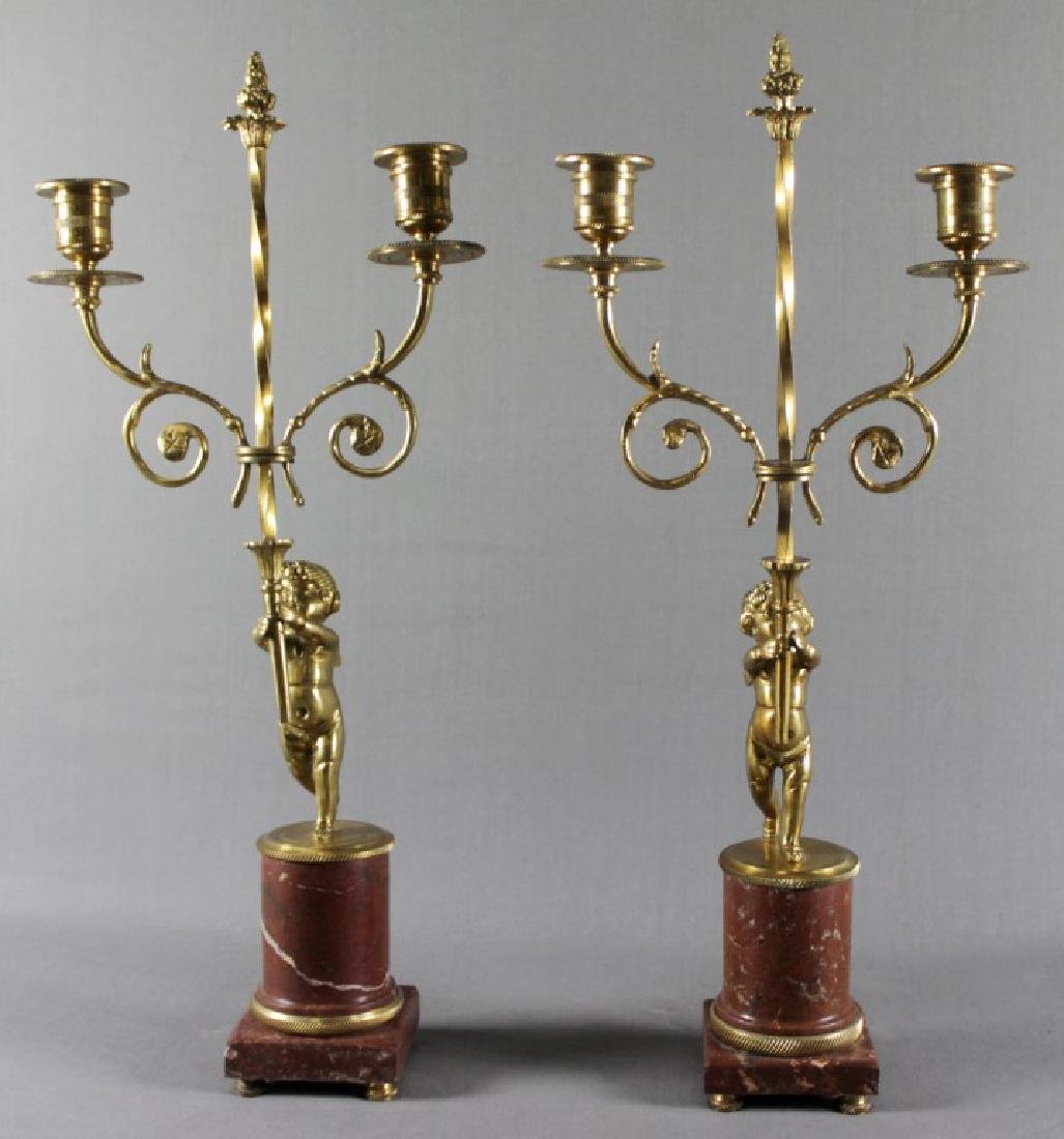 PAIR OF EMPIRE STYLE DORE BRONZE AND MARBLE 2 LIGHT