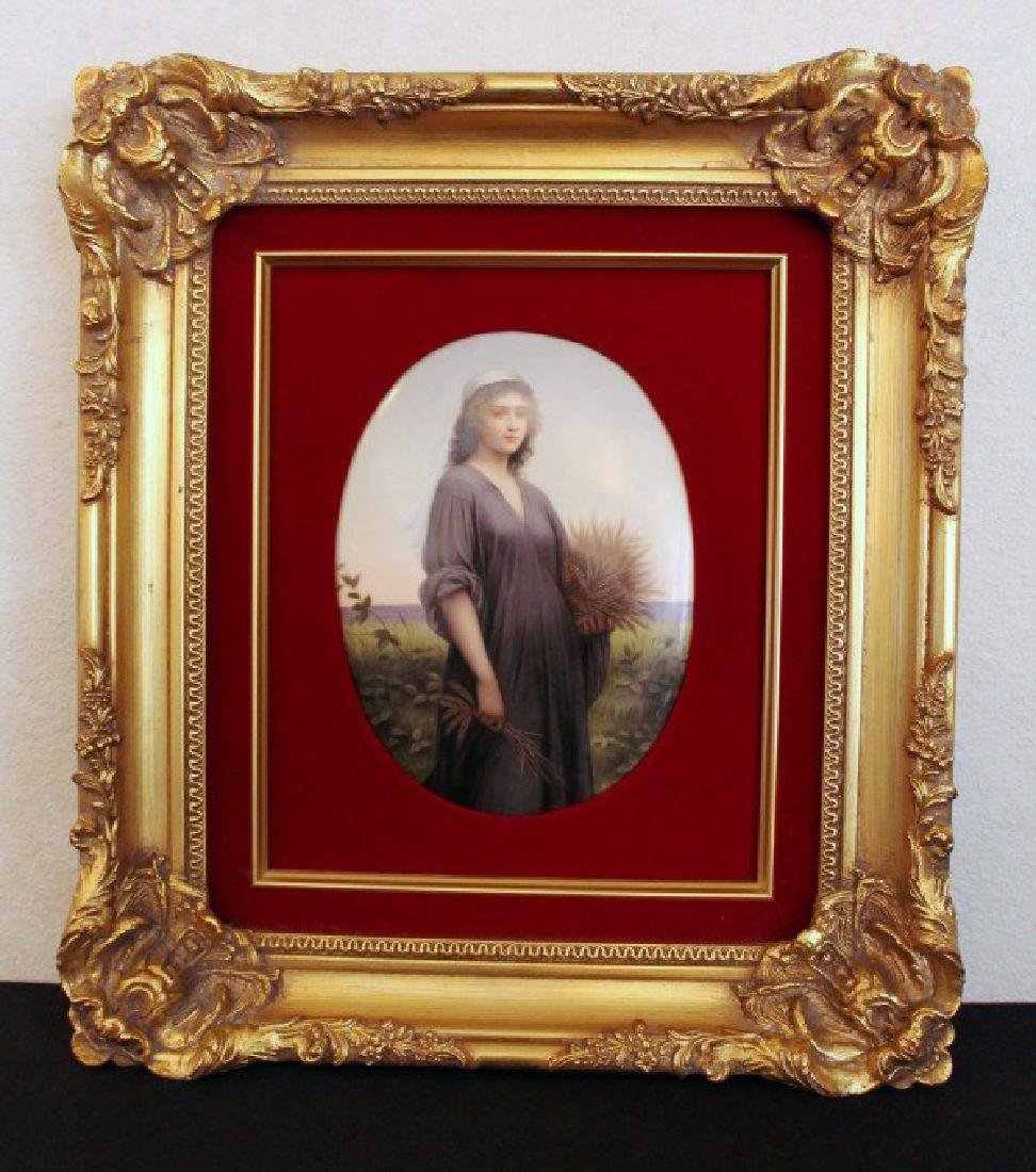 HAND PAINTED KPM PORCELAIN PLAQUE OF RUTH HOLDING LEAF
