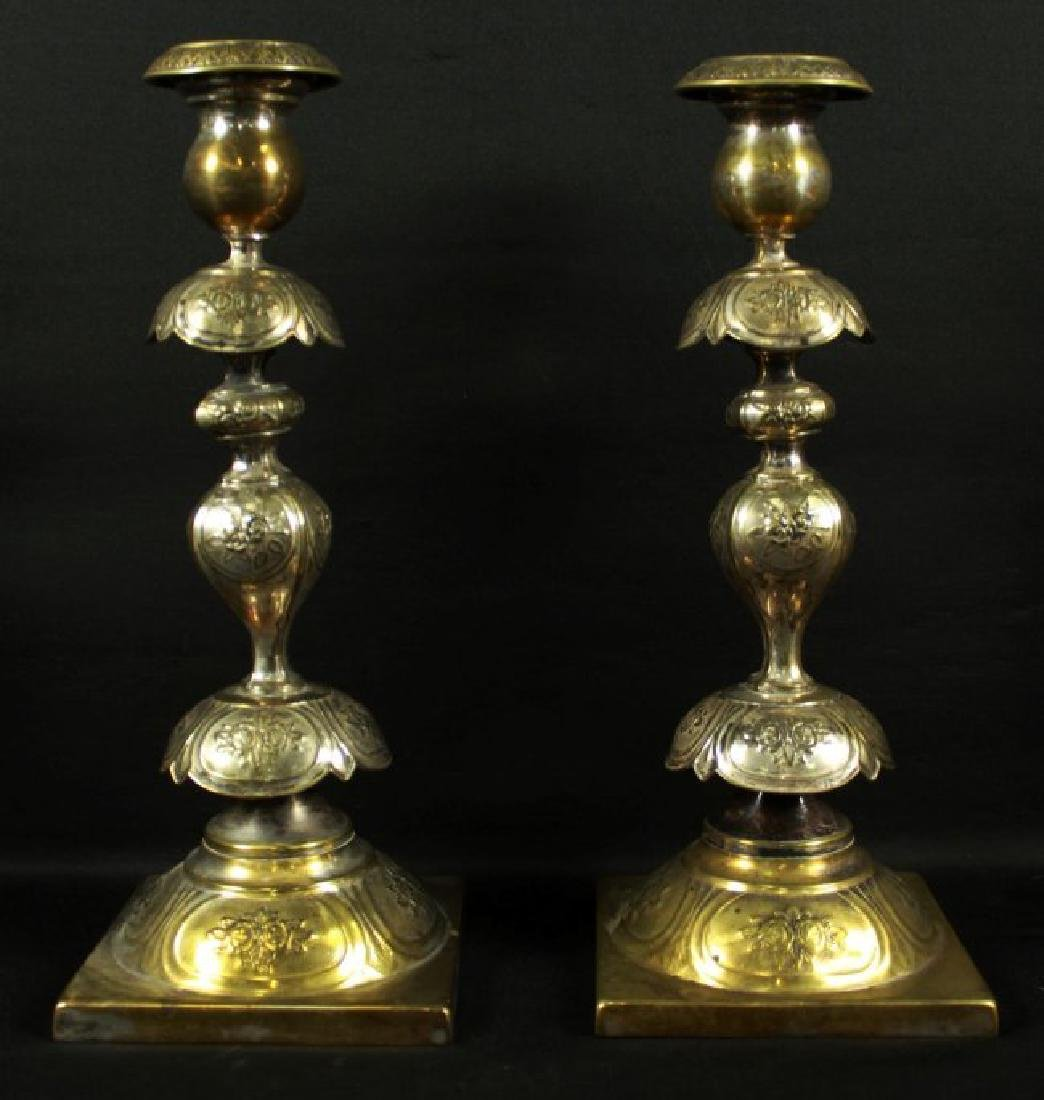 PAIR OF INLAID CANDLESTICKS