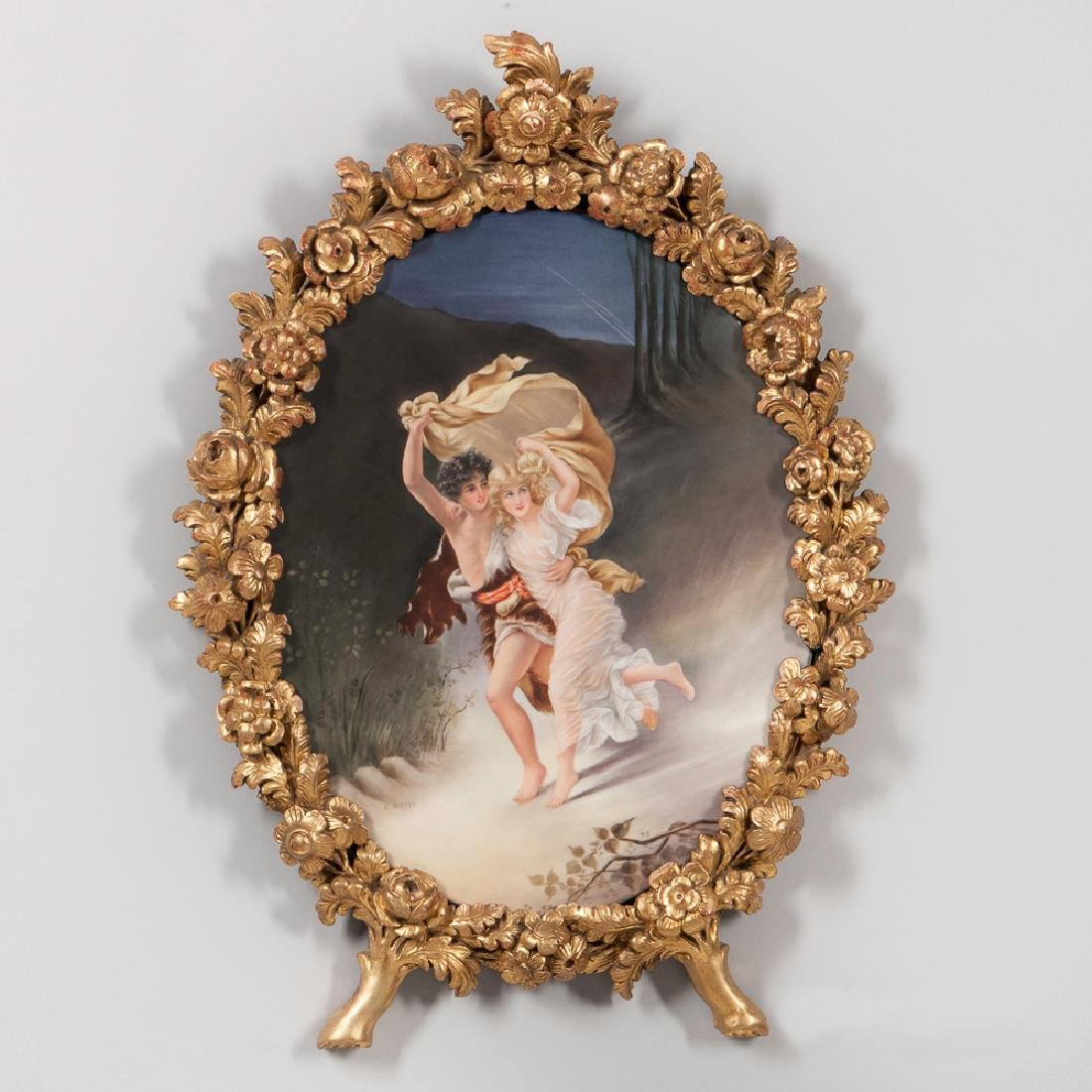 19th C. Continental Oval Porcelain Plaque of a Couple
