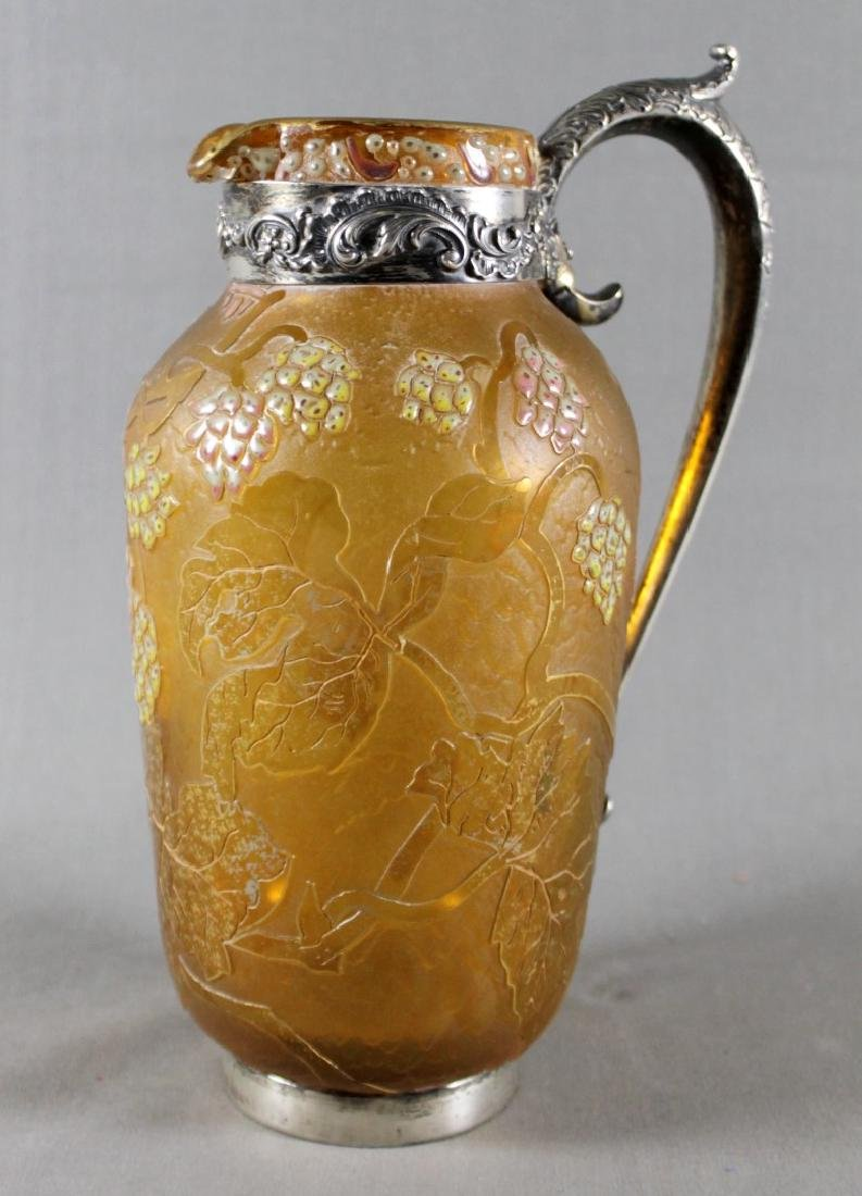 DAUM NANCY VASE W/ SILVER HANDLES AND MOUNTS