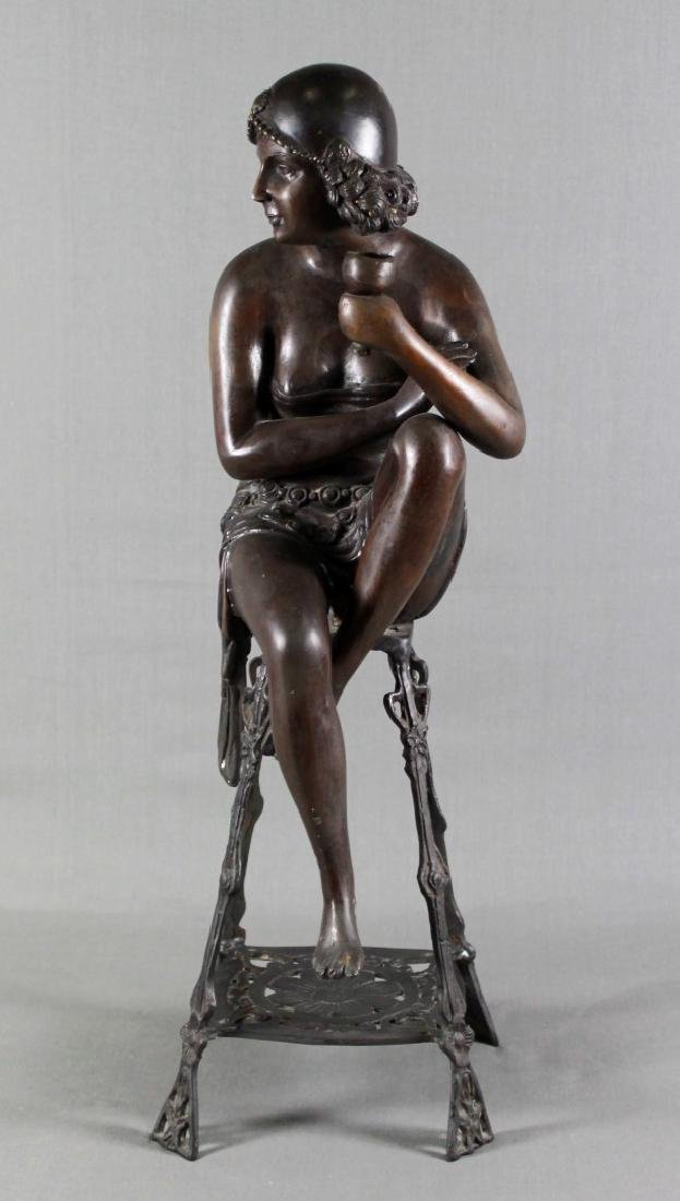 BRONZE FIGURE OF LADY SITTING ON STOOL