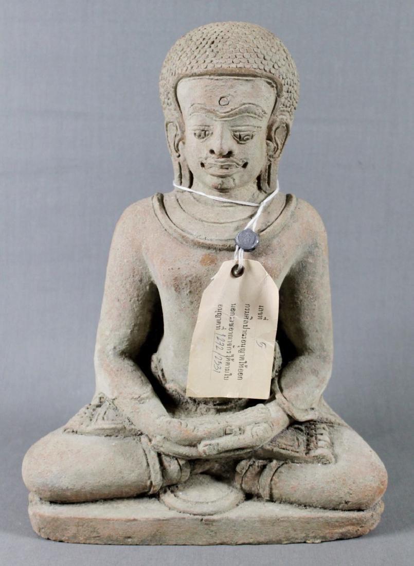 SOUTHEAST ASIAN SEATED STONE FIGURE OF BUDDHA