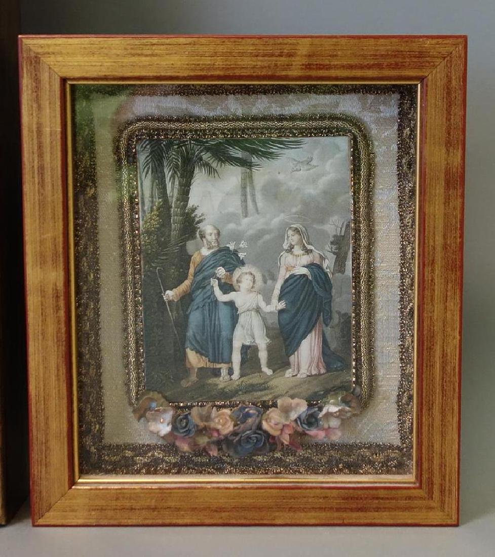Framed print depicting a print of Jesus walking in a