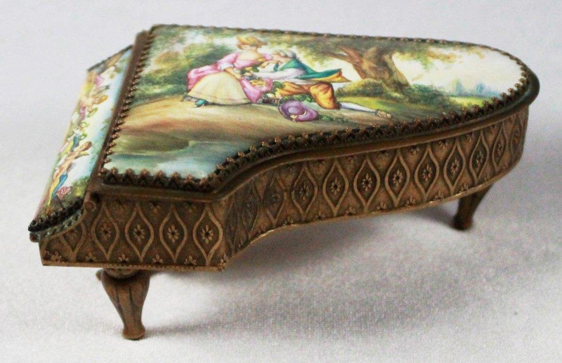 19TH C VIENNESE ENAMEL MINIATURE PIANO