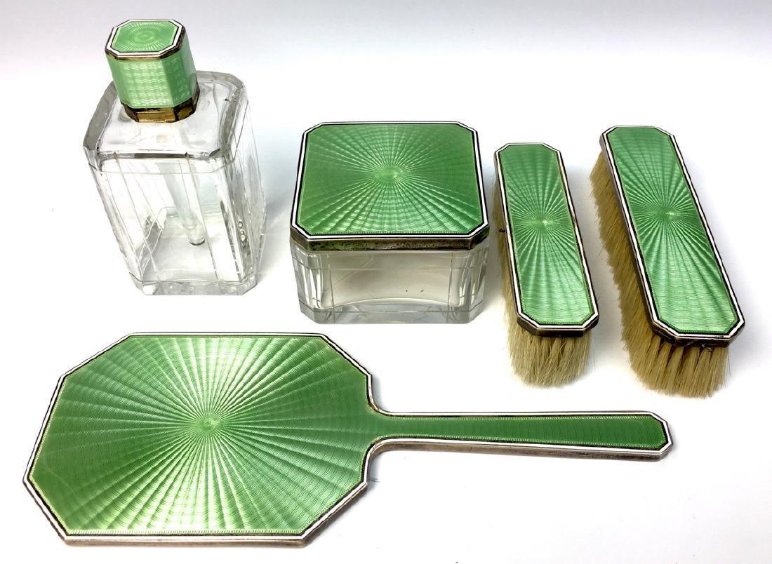 Tiffany and Co. Sterling and Enamel Ladies Vanity Set