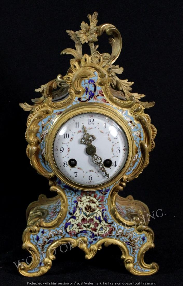 EARLY 19TH C. FRENCH CHAMPLEVE MANTLE CLOCK