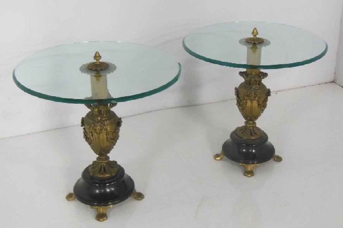 Pair Urn based glass top end tables