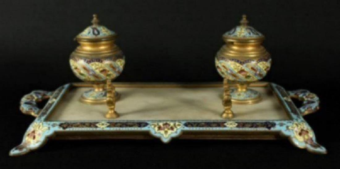 FRENCH CHAMPLEVE ENAMEL DORE BRONZE WITH ONYX INKWELL