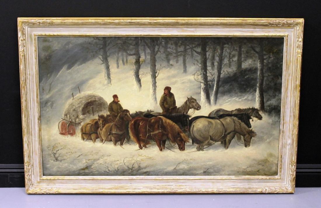 PAUL POWIS: OIL ON CANVAS WINTER LANDSCAPE WITH HORSES
