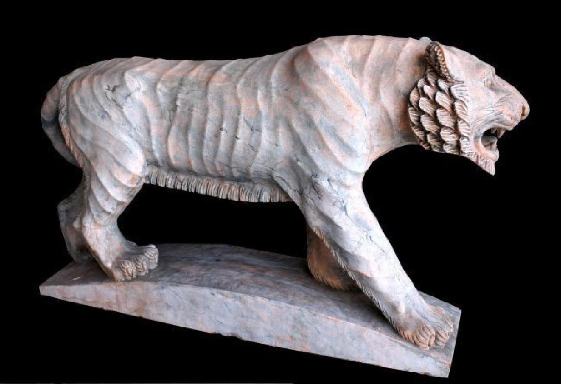 MONUMENTAL RED MARBLE SCULPTURE OF TIGER