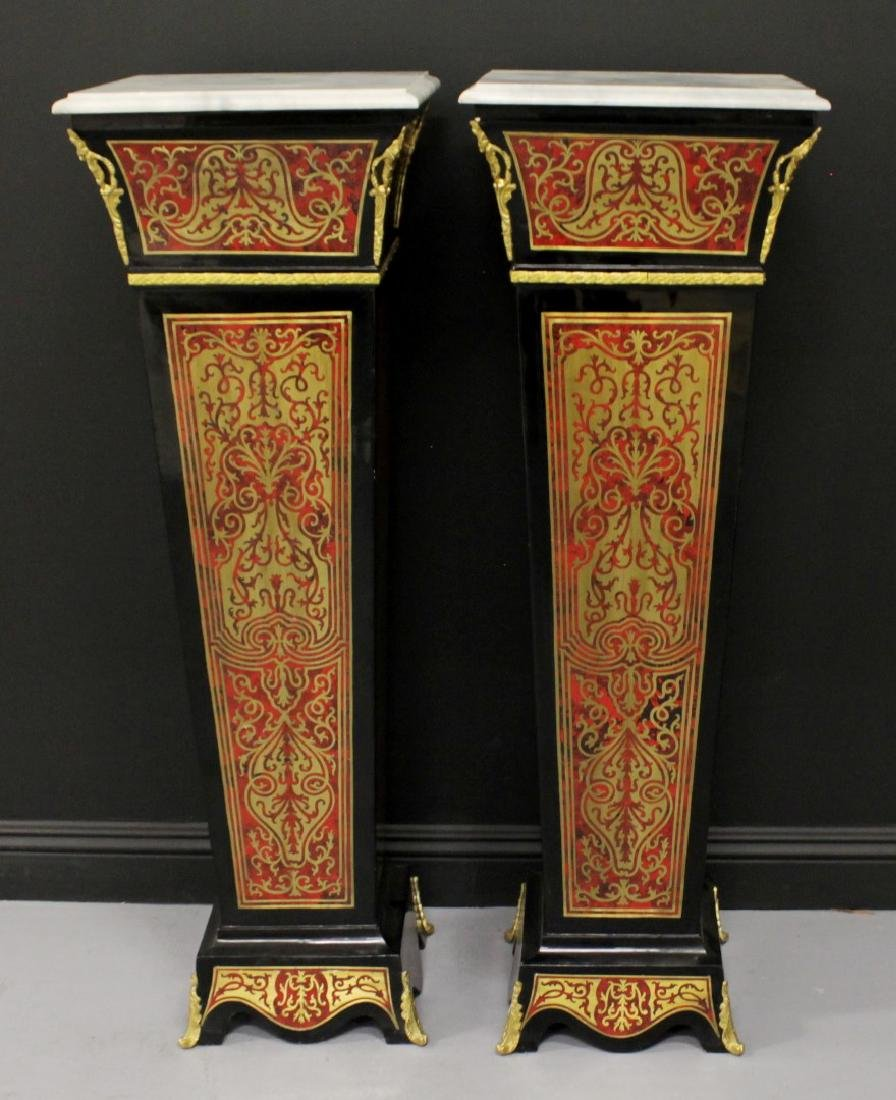 PAIR OF BOULLE STYLE PEDESTALS WITH BRONZE MOUNTS