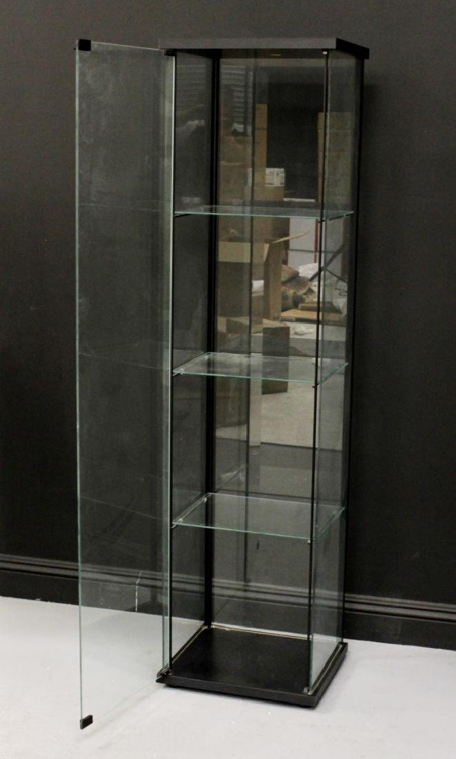 "64 1/2"" STANDING 4 TIER WOOD AND GLASS SHOWCASE"