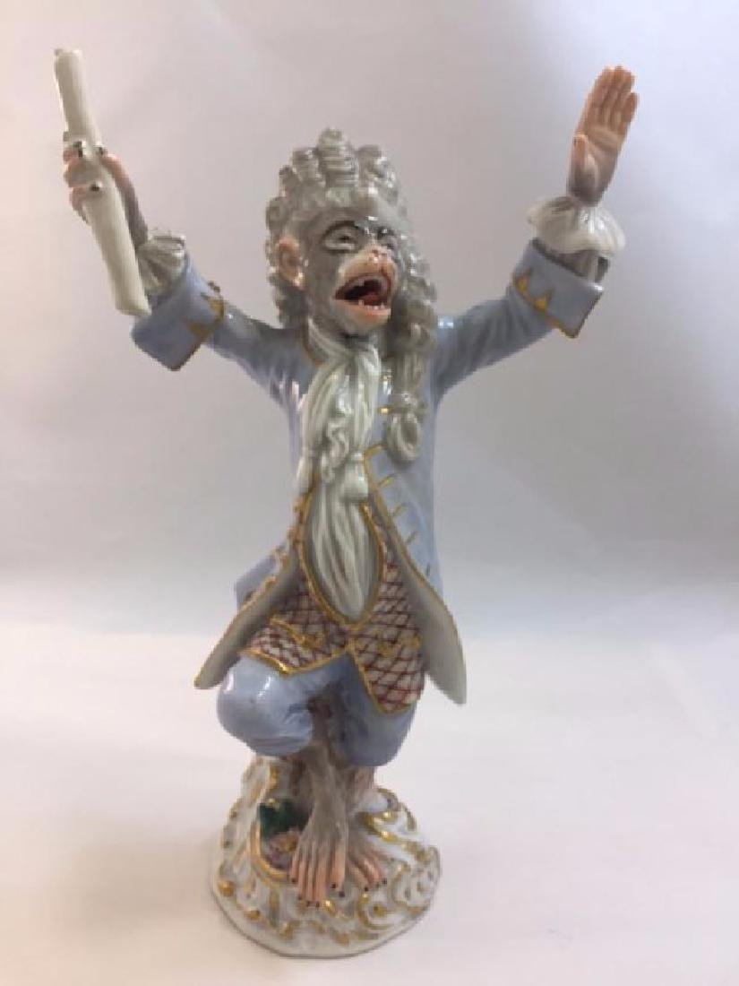 19th Century Meissen Monkey Band figure of Coznductor