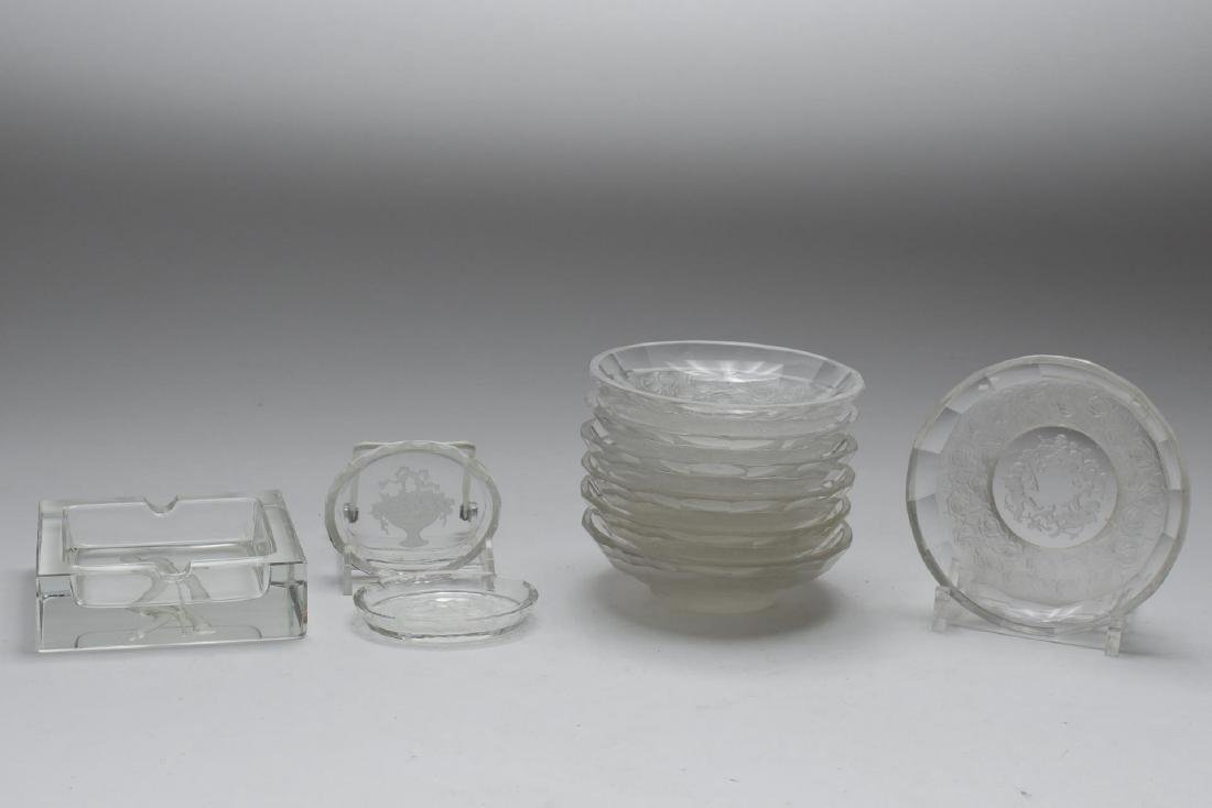 Etched Frosted Crystal & Glass, Group of 10 Pieces