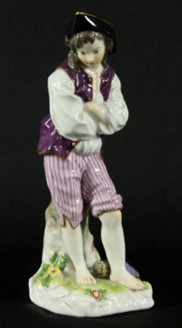 """7.5"""" MEISSEN FIGURE OF MAN WITH ARMS SHRUGGED"""