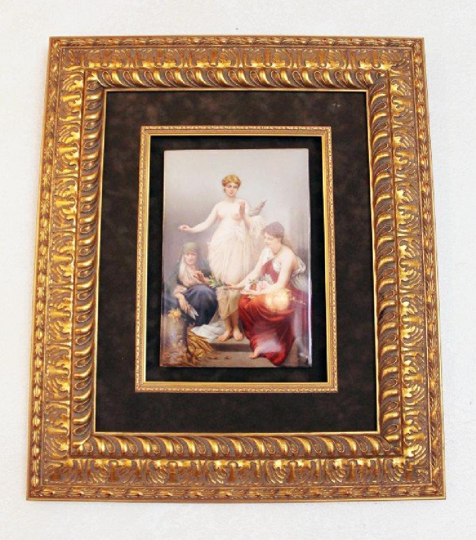 """IMPORTANT KPM PORCELAIN PLAQUE WITH PAINTING """"THE THREE"""