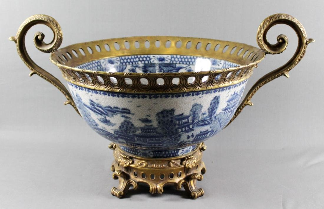 LARGE CHINESE BRONZE AND PORCELAIN BOWL