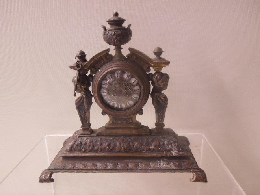 19th c. Continental Bronze Desk Clock