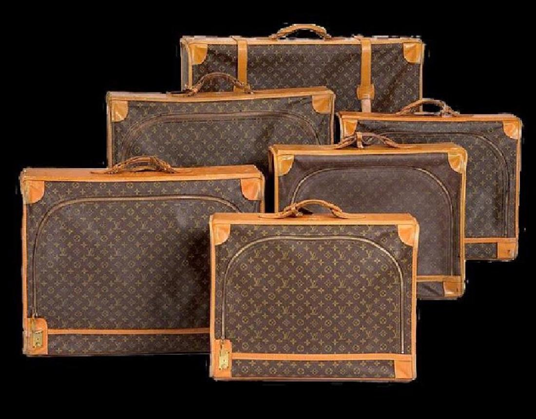 Six Louis Vuitton monogrammed leather and canvas