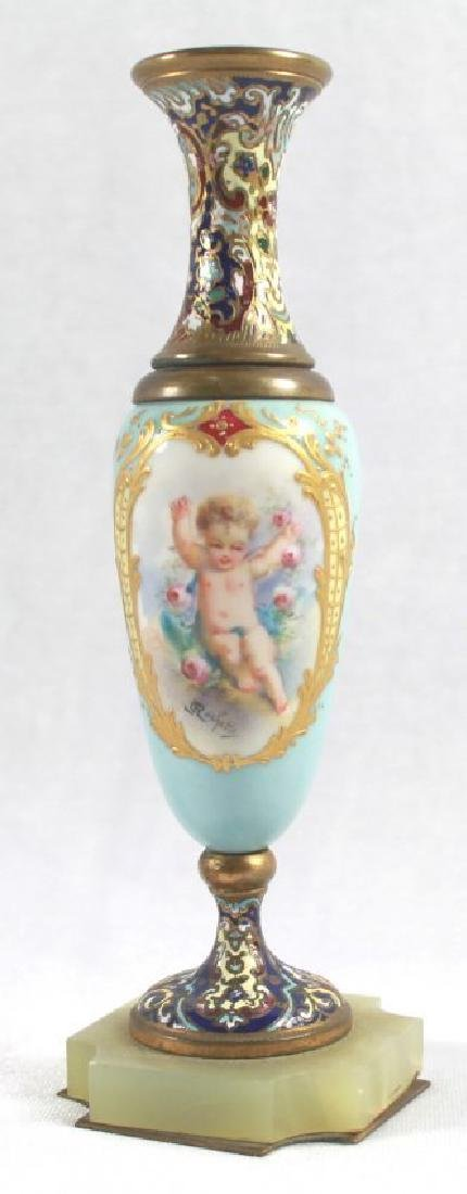 19TH C. CHAMPLEVE CABINET VASE WITH BASE