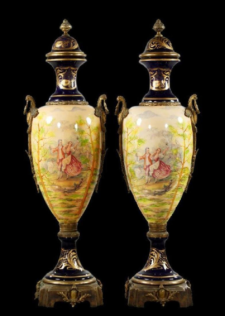 "55"" 20th C. Pair of Monumental Urns"