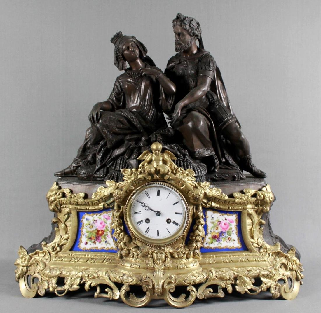 STUNNING 19TH CENT FRENCH BRONZE SEVRES PORCELAIN CLOCK