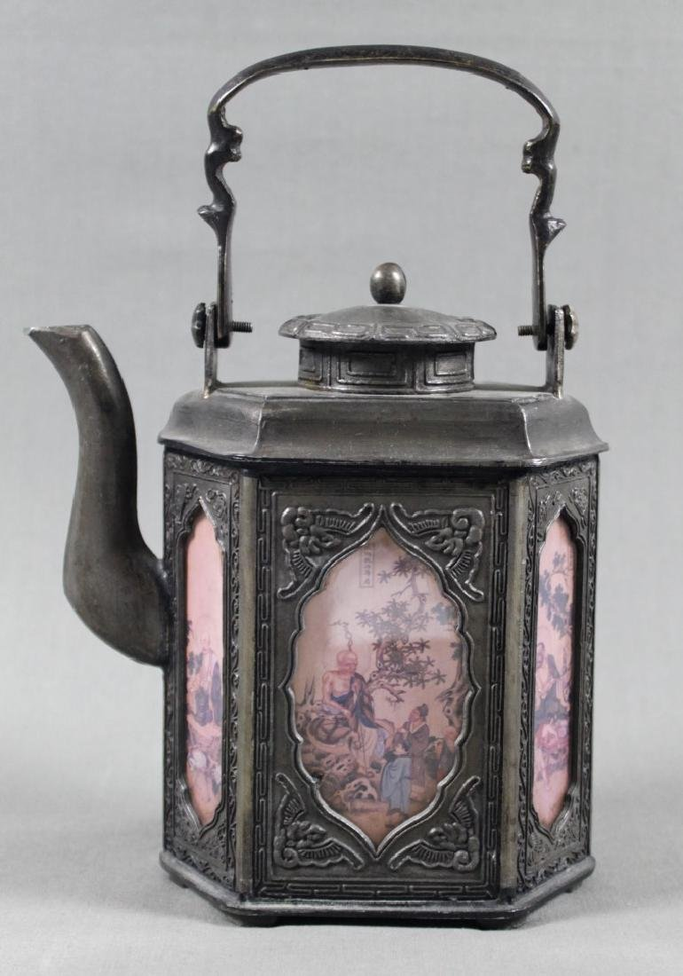CHINESE PEWTER TEA KETTLE