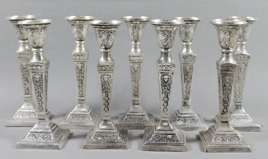 SET OF 10 SILVERPLATED CANDLESTICKS