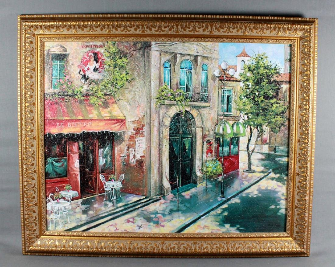 ANTIQUE PAINTING ON CANVAS OF FRENCH STREET SCENE,
