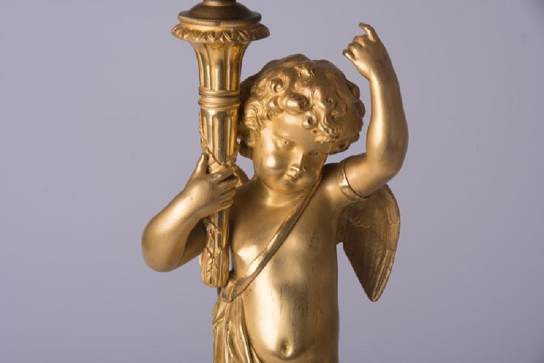 PAIR OF 19T C. FRENCH GILT-BRONZE AND MARBLE FIGURAL - 2
