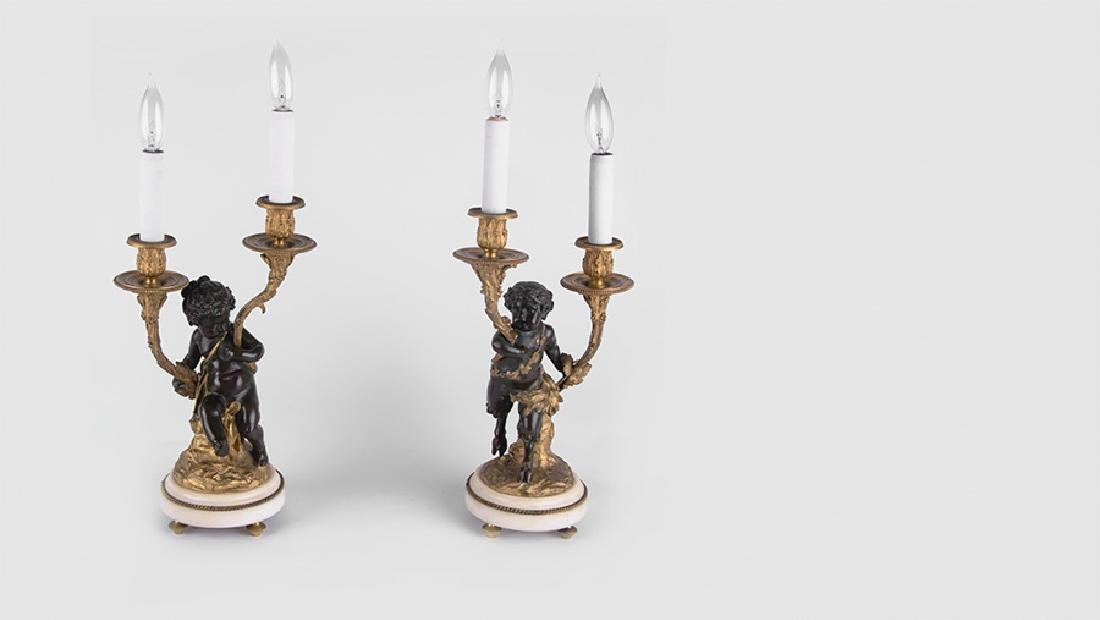 PAIR OF 19TH C. FRENCH BRONZE & MARBLE FIGURAL - 2