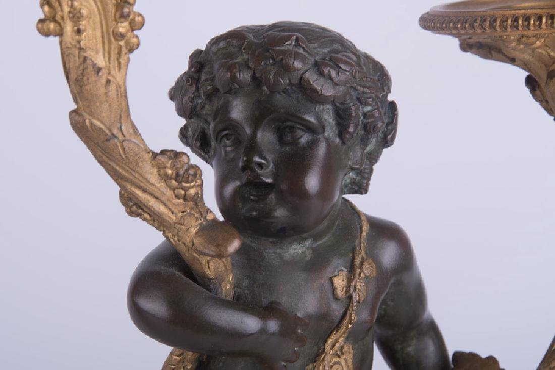 PAIR OF 19TH C. FRENCH BRONZE & MARBLE FIGURAL - 7
