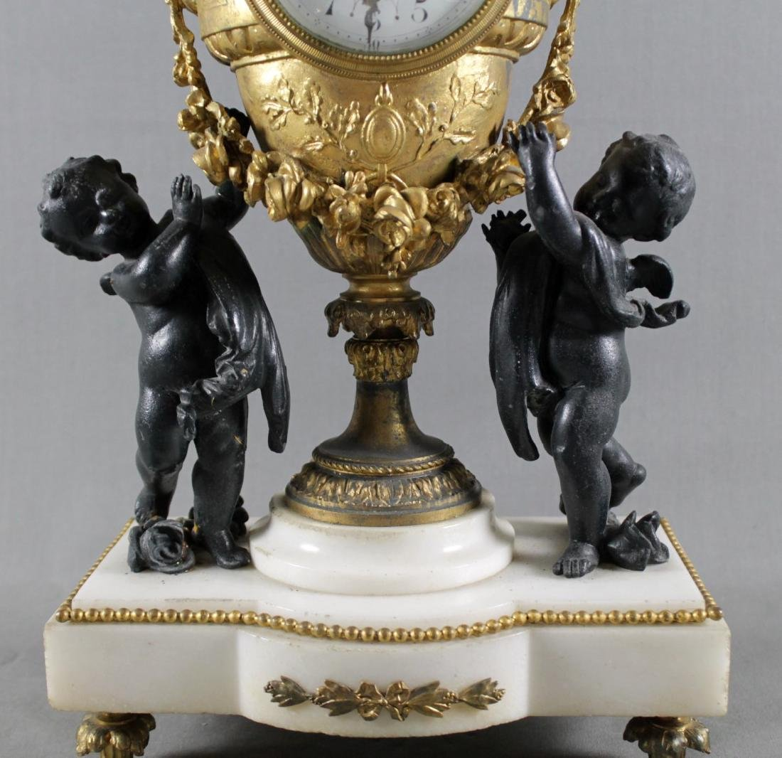 3 PC. FRENCH GILT METAL AND MARBLE  CLOCKSET - 3