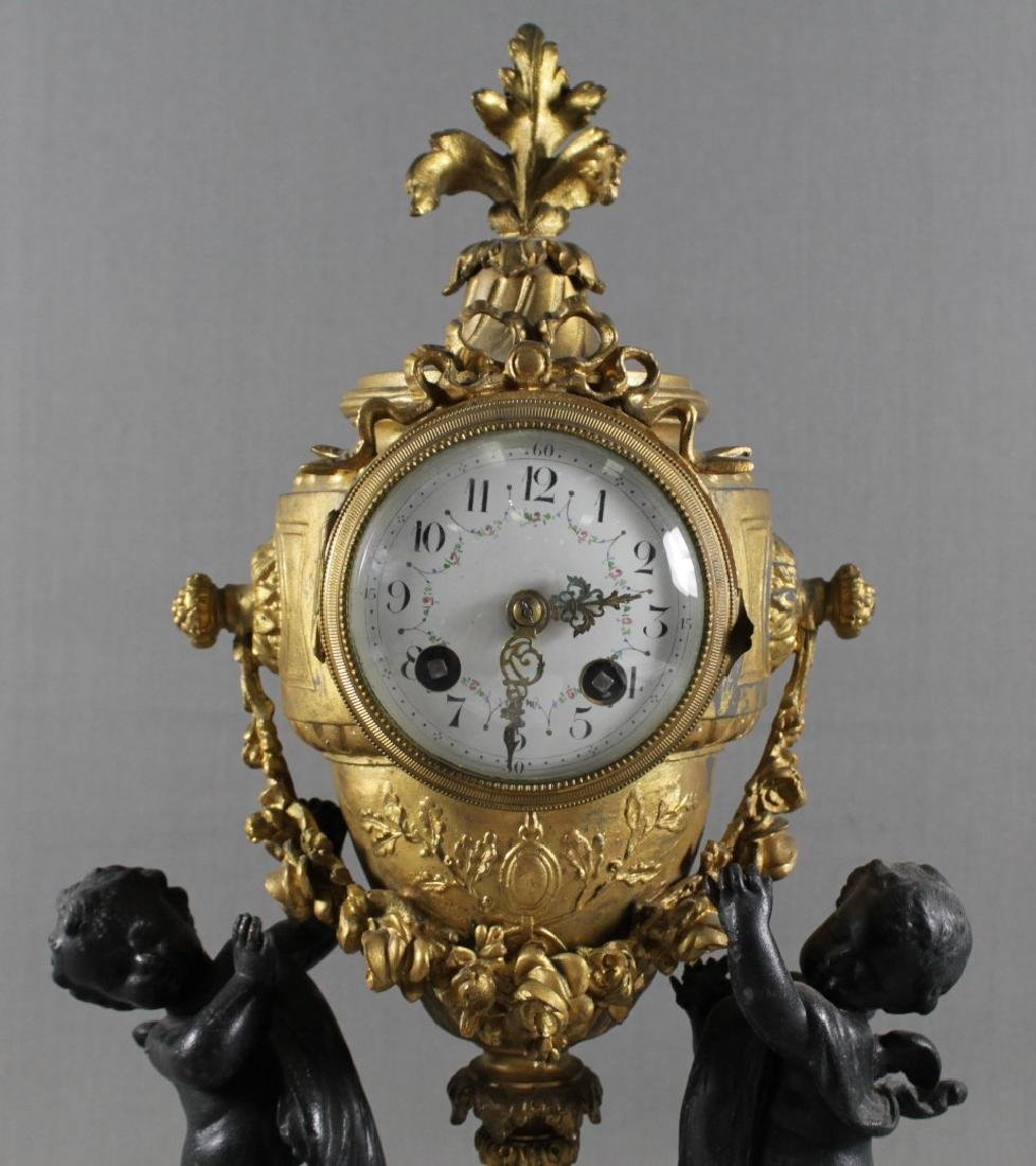 3 PC. FRENCH GILT METAL AND MARBLE  CLOCKSET - 4