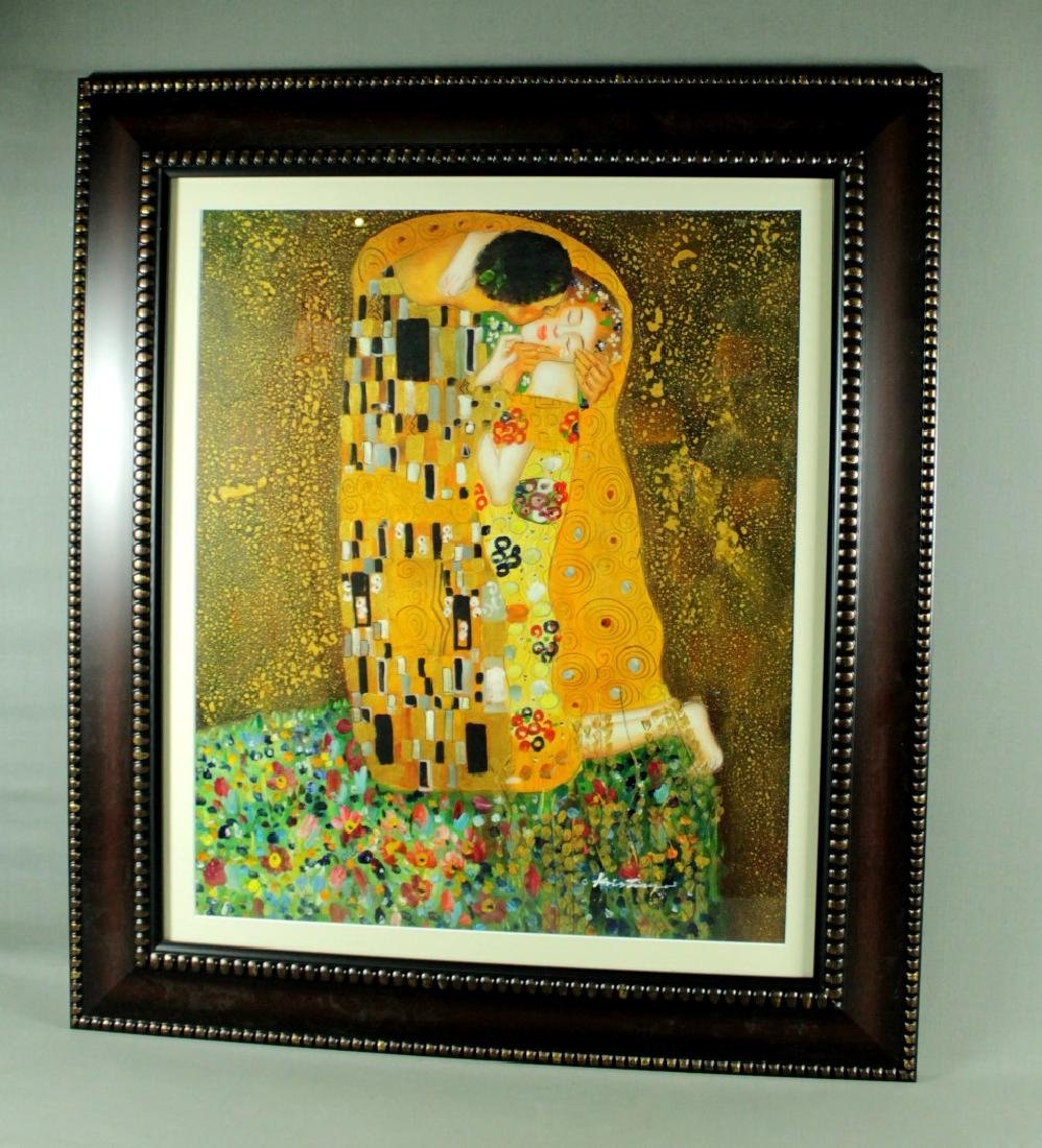 FRAMED COUPLE SCENE WATERCOLOR SIGNED