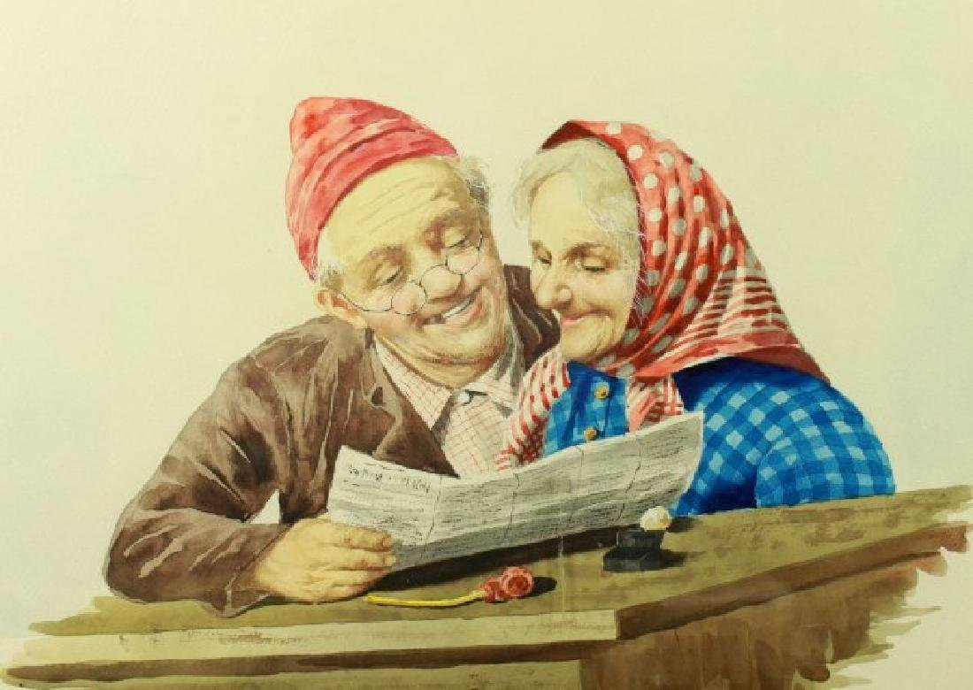 FRAMED PAINTING OF ELEDRLY COUPLE - 2