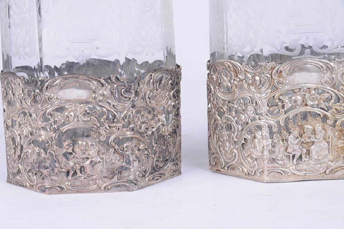 PAIR OF ITALIAN .800 SILVER & ETCHED GLASS DECANTERS - 2