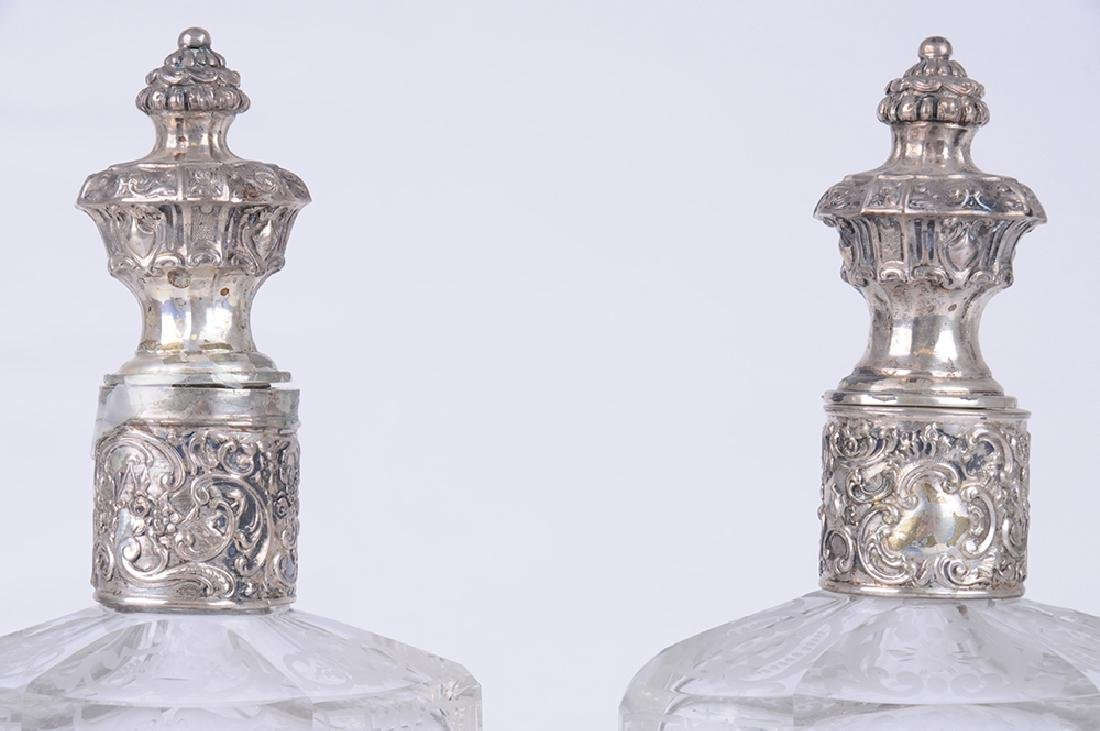 PAIR OF ITALIAN .800 SILVER & ETCHED GLASS DECANTERS - 6