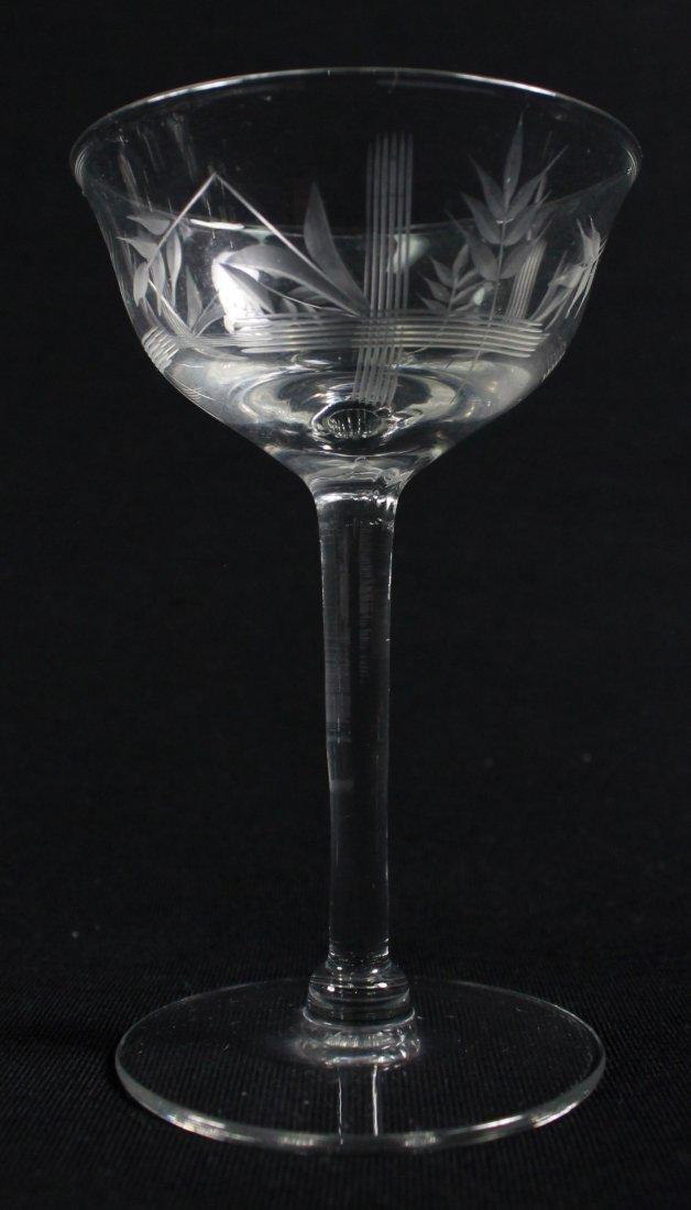 ETCHED WINE GLASSES, 12 PCS - 5