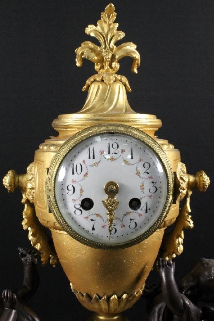 19TH C. BRONZE AND MARBLE MANTLE CLOCK - 5