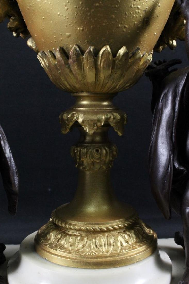 19TH C. BRONZE AND MARBLE MANTLE CLOCK - 6